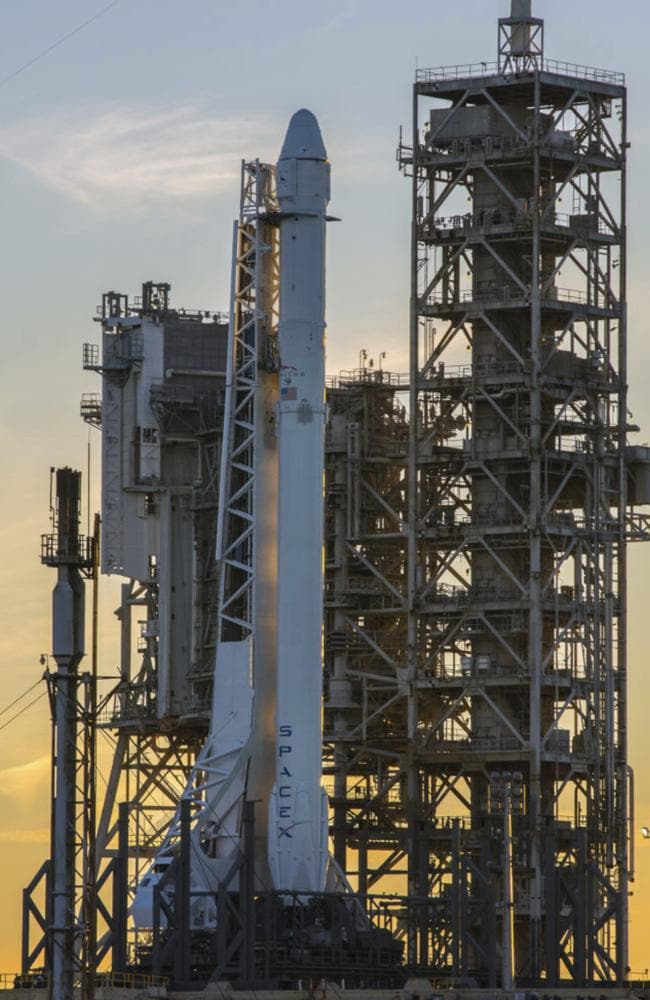 The SpaceX Falcon 9 rocket rests on the launch pad at NASA. Picture: NASA via AP