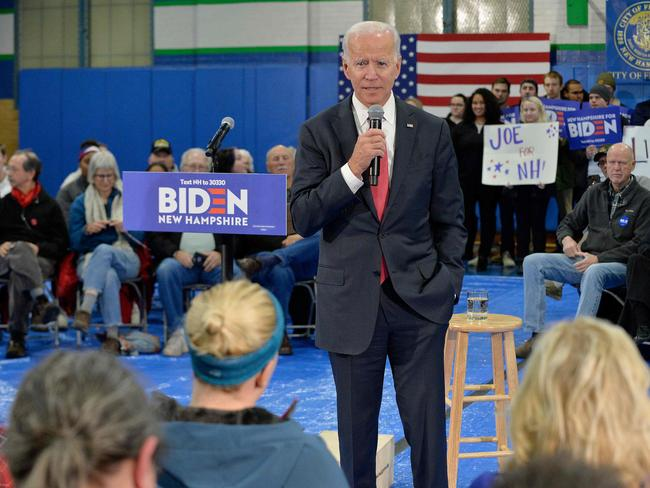 Democratic presidential candidate Joe Biden snapped at a questioner during a campaign event in Iowa on Thursday after the man asked about his son's business dealings in Ukraine. Picture: Joseph Prezioso