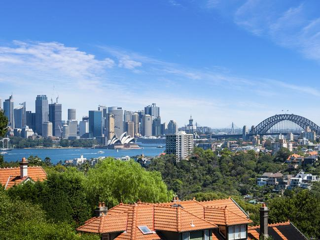 The home has views of Sydney Harbour and skyline views.