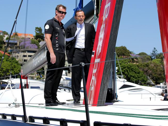 Prime Minister Tony Abbott and Anthony Bell Skipper of the Supermaxi Loyal after the launch of the yachts Sydney Hobart Campaign at Rose Bay Marina. Picture: Gregg Porteous