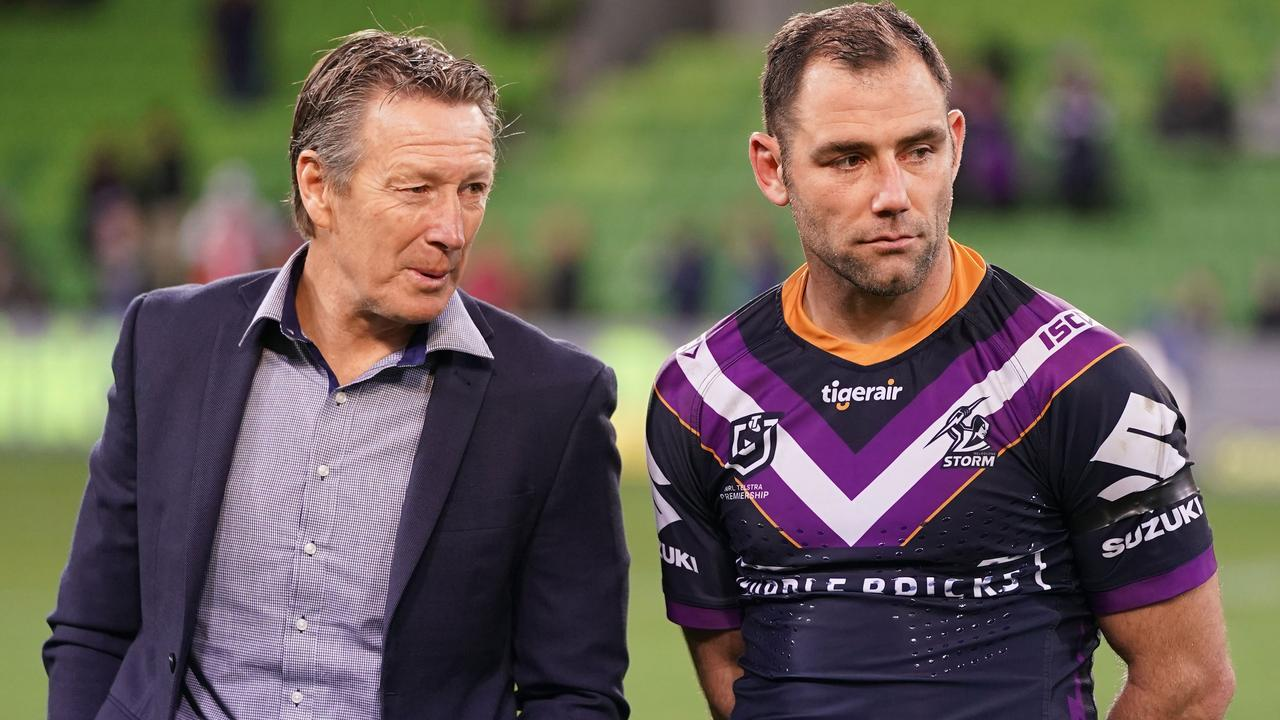 Craig Bellamy, coach of the Melbourne Storm and captain Cameron Smith.