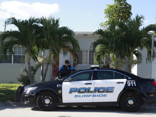 Police at the home of Sol Pais in Surfside, Florida. Picture: AP
