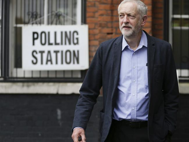 Britain's Labour Party leader Jeremy Corbyn casts his vote in the EU referendum at a polling station in his electorate of Islington, north London.
