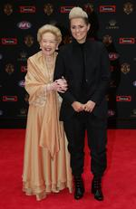 Susan Alberti and womens player Moana Hope arrive at the 2016 Brownlow Medal Count.