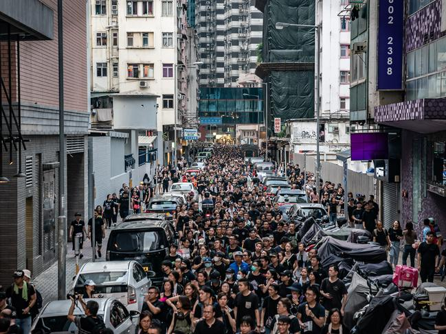Protesters in their thousands march in Hong Kong. Picture: Anthony Kwan/Getty Images