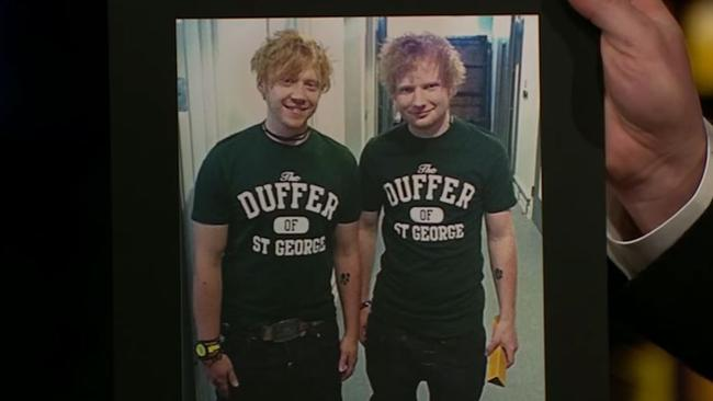 Side by side ... Grint and Sheeran are twinning.