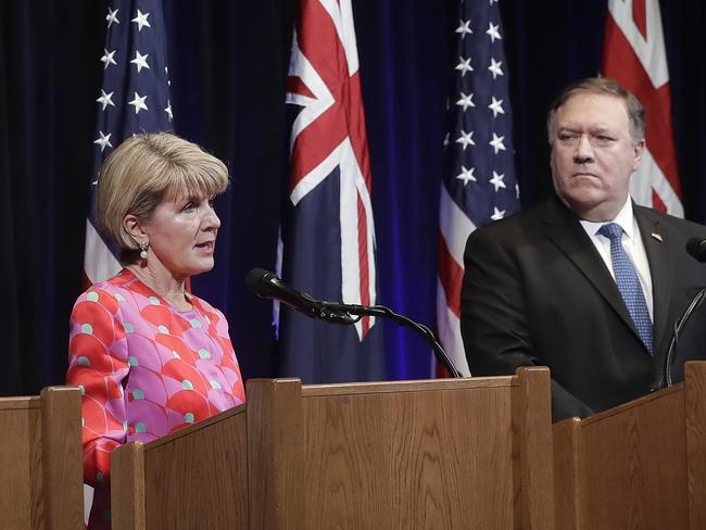 US Secretary of State Mike Pompeo said America and Australia could 'rely on each other' during Australia-US Ministerial Consultations with Julie Bishop. Picture: Justin Sullivan/Getty Images/AFP