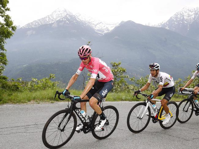 Chris Froome during the 20th stage from Susa to Cervinia in the 101st Giro d'Italia.