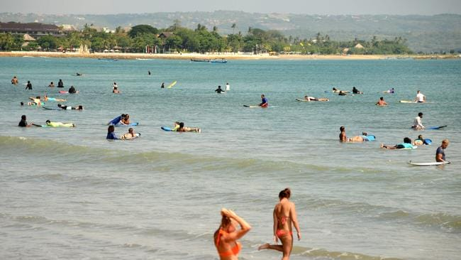 Kuta Beach is a favourite among Aussie tourists in Bali. Picture: AFP/Sonny Tumbelaka