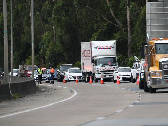 Incident involving a Pedestrian and a truck on the Pacific Highway at Reedy Creek on the Gold Coast. Photograph : Jason O'Brien