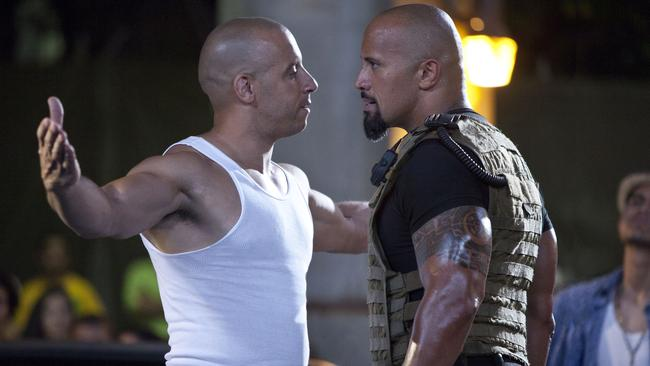 Vin Diesel's character enjoyed staunching up to Dwayne Johnson's in certain film scenes (above), but the antics reportedly continued off-screen, as the two traded jabs in various press interviews. Picture: Supplied.