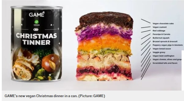 Picture: Supplied. Tech retailer, GAME. Christmas Dinner in a can.