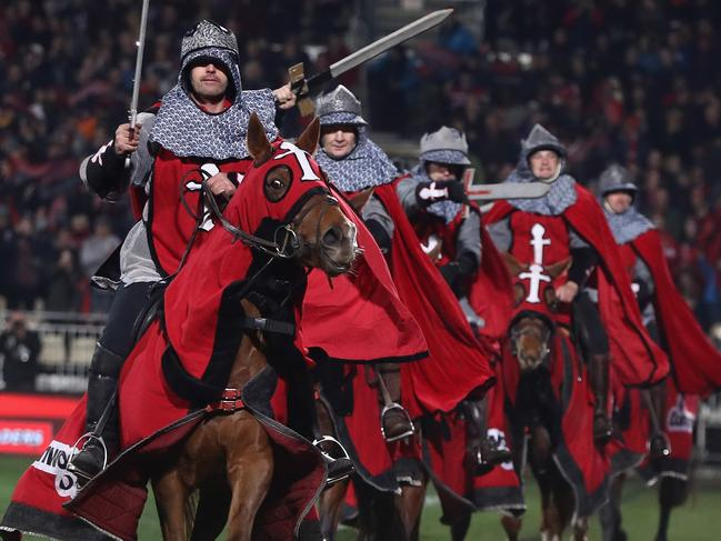 Horses provide pre-match entertainment during Crusaders' home matches.