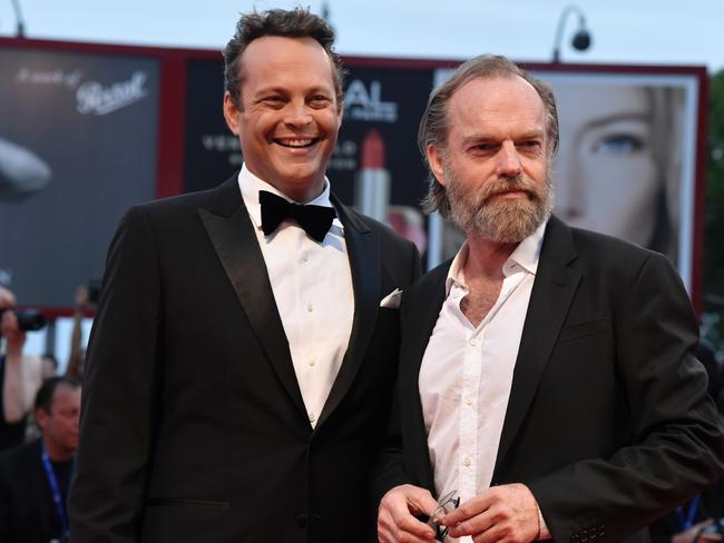 Vaughn with Hugo Weaving on September 4. Picture: AFP/Tiziana Fabi