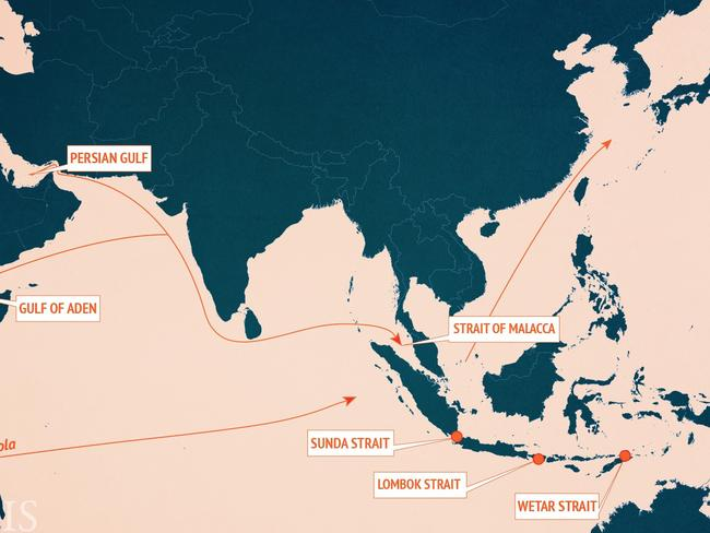 Some of the critical shipping routes in the South China Sea, including the Strait of Malacca which is 1.5 nautical miles wide at one point. Picture: AMTI.