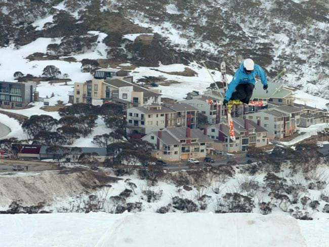 Ski-ing on Mt Hotham in Victoria — one of the many activities used to demonstrate safety in the air in the new Qantas video. Picture: Supplied
