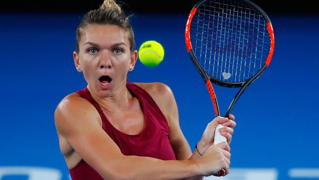 Simona Halep hit the practice court at Melbourne Park after her success in China. Picture: Getty Images