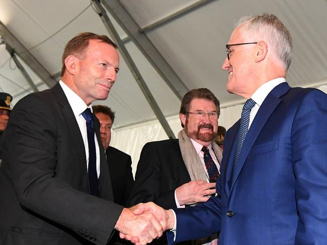 Turnbull called out Tony Abbott and Kevin Rudd for their decisions to stay in parliament. Picture: Lukas Coch/AAP