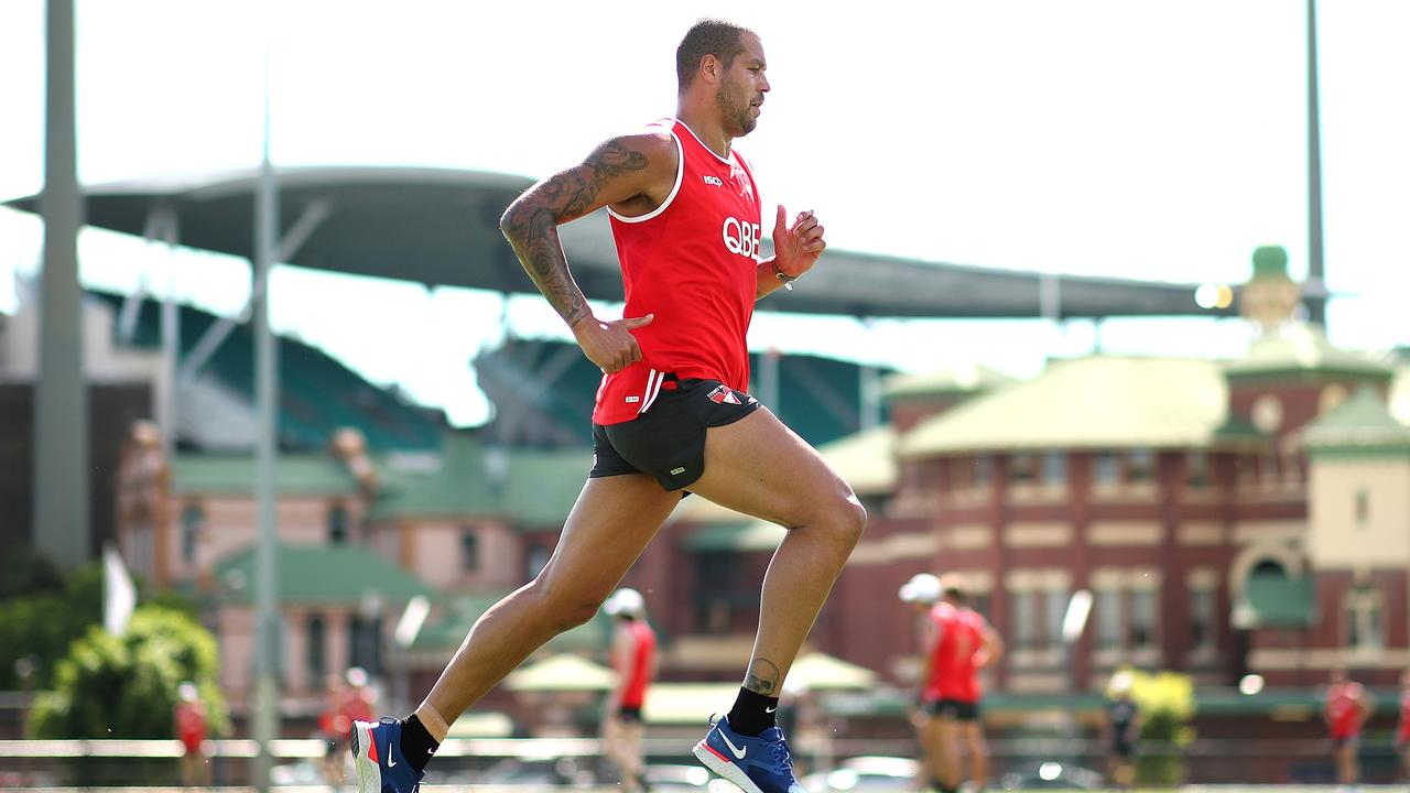 Lance Franklin returns early to training to do some post injury running . Picture: Phil Hillyard