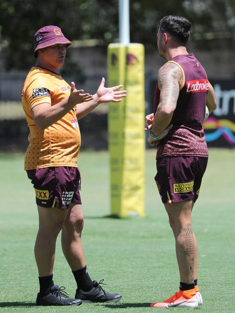Anthony Seibold and Darius Boyd at Broncos training