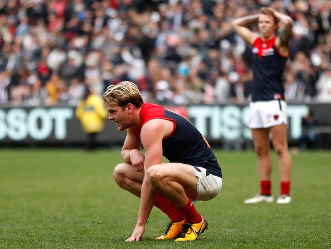 Jack Watts of the Demons looks dejected after the loss to Collingwood.