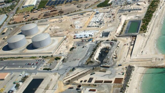 An aerial view of Perth's desalination plant at Kwinana during construction, which now has capacity to supply almost 20 per cent of the city's water supply. Picture: News Corp