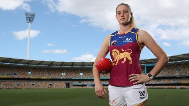 Brisbane Lions star Tayla Harris at the Gabba. Picture: Peter Wallis