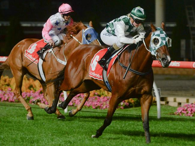 Tongsai Boss ridden by Jamie Kah wins at Moonee Valley. Picture: Ross Holburt/Racing Photos via Getty Images