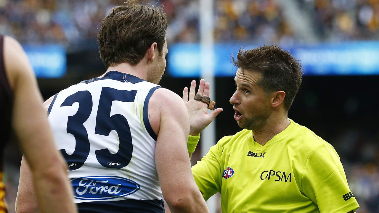 Patrick Dangerfield believes AFL players should be educated rather than fined if they abuse an umpire. Photo: Colleen Petch.