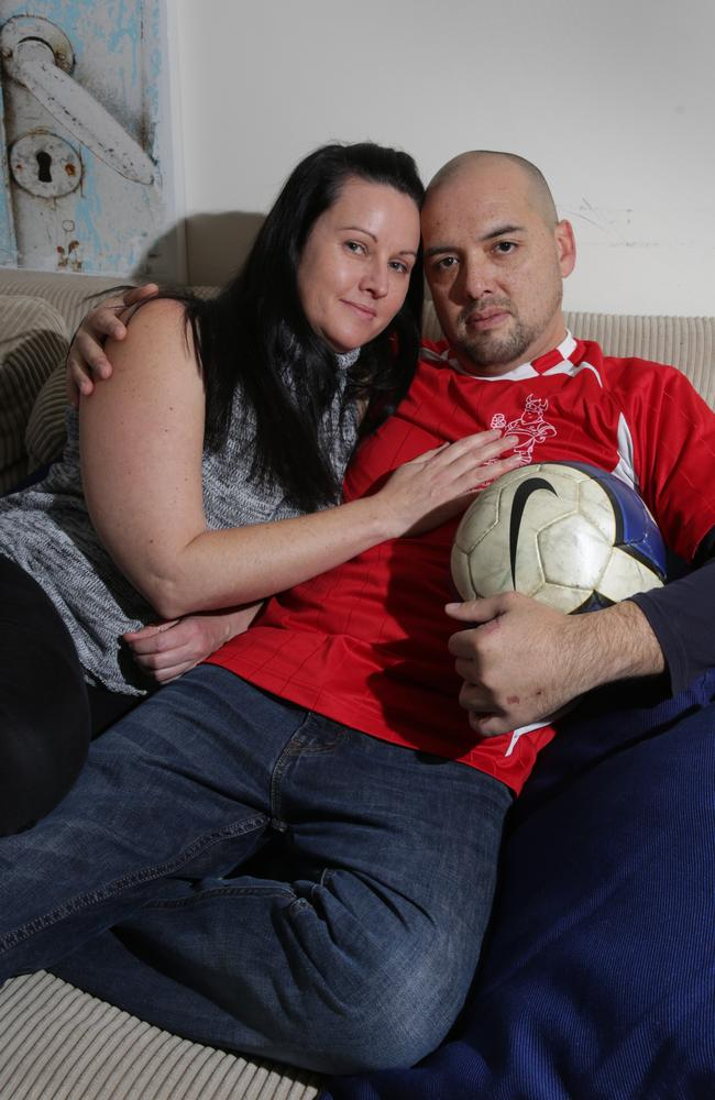 Gosford Footballer Nathan Mark, pictured with wife Tammy. Pictures by Mark Scott