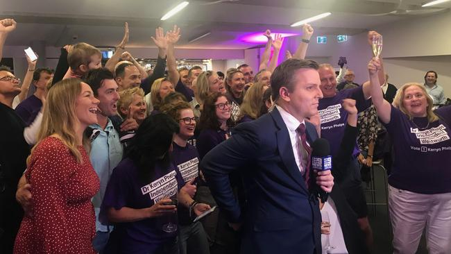 There's a party atmosphere at North Bondi Surf Lifesaving Club after the ABC called the Wentworth by-election for Kerryn Phelps.