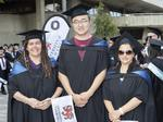 Steph Richardson, Kai Zhang and Luisa Truscott at the UTAS Graduation at Launceston. PICTURE CHRIS KIDD