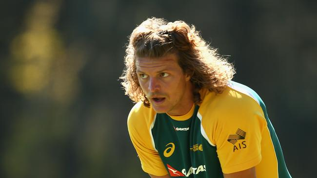 Nick Cummins participates in an Australian sevens training session at the Sydney Academy of Sport.