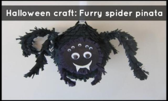 Halloween craft party game: Furry spider pinata