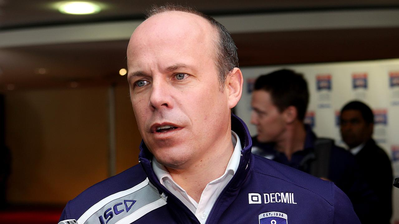 Fremantle Football Manager Chris Bond speaks to the waiting media after Day 1 of trade week. Photo: Ian Currie.