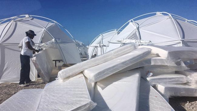 Mattresses and tents set up for attendees of the Fyre Festival in April in the Bahamas. Picture: AP
