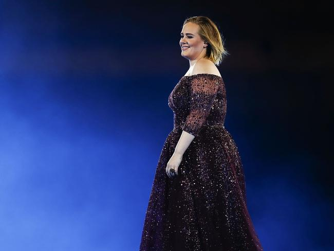 Adele performing at ANZ Stadium on the night a fan collapsed. Picture: Cameron Spencer