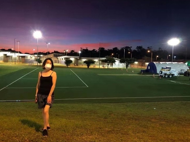 Sydney mother of two Li Ping Gu, who was rescued from Wuhan on a Qantas flight on February 3, has written a letter of thanks to the military and medics running the quarantine facility on Christmas Island. Pictures: Supplied