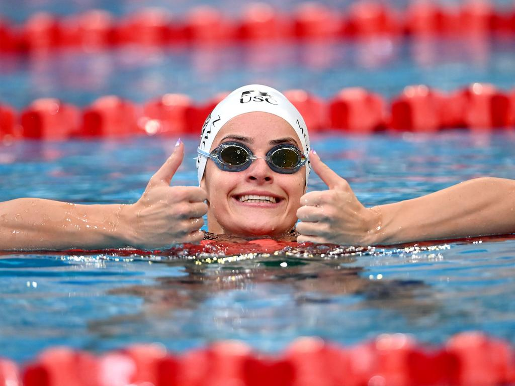 Kaylee McKeown breaks Commonwealth and Australian Record, 100m BACKSTROKE Final, 2021 Sydney Open, Sydney Olympic Park Aquatic Centre , May 15 2021.,  Pic credit is mandatory for complimentary editorial usage. , MUST CREDIT by Delly Carr / SOPAC.,
