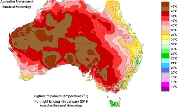 In the fortnight to January 4, large tracts of the country hit 48C at least once with populated parts of South Australia and Victoria seeing the mercury get above 42C. Picture: Bureau of Meteorology