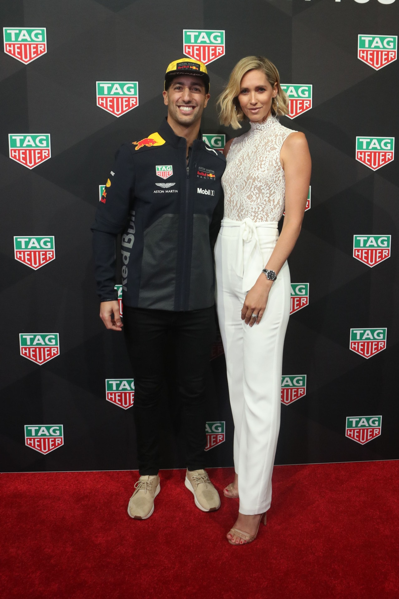 Daniel Ricciardo and Nikki Phillips at the TAG Heuer Grand Prix cocktail event. Image credit: Lucas Dawson