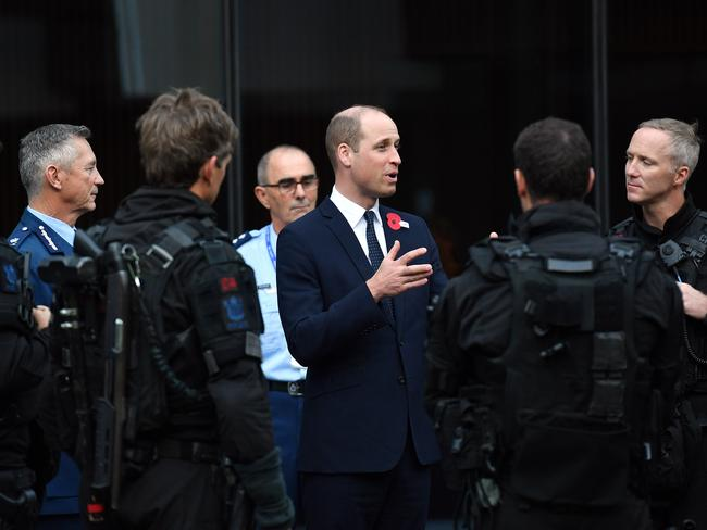 Prince William meeting with first responders who aided following the Christchurch terror attacks. Picture: Getty Images