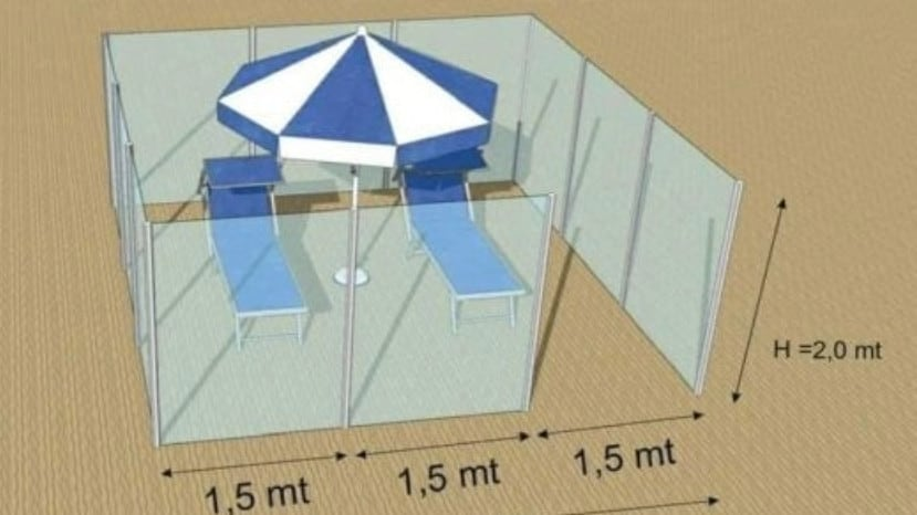 The cubicles could house two sun lounges and an umbrella. Picture: Twitter