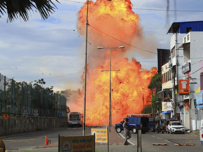 A suspicious object explodes without warning in Colombo, Sri Lanka. Picture: The Yomiuri Shimbun/AP Images