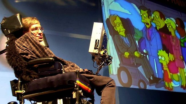 Physicist Stephen Hawking looks at an animated clipping of himself from popular television serial  <i>The Simpsons / </i>File