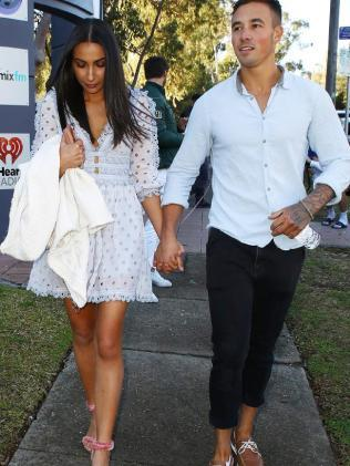 Tayla and Grant leave the radio station after their interview. Picture: Matrix Source:Matrix