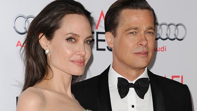 "HOLLYWOOD, CA - NOVEMBER 05: Angelina Jolie and Brad Pitt attend the premiere of ""By the Sea"" at the 2015 AFI Fest at TCL Chinese 6 Theatres on November 5, 2015 in Hollywood, California. (Photo by Jason LaVeris/FilmMagic)"