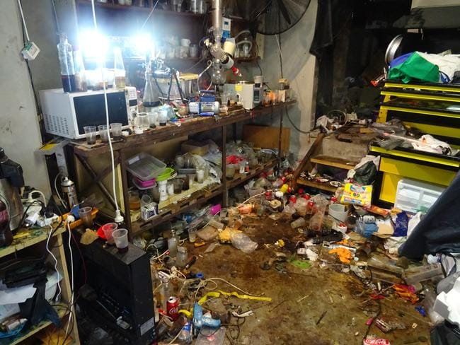Scenes of filth in the drug cook house in Sydney where two young children watched their father boil up MDA.