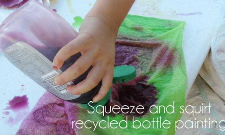 Squeeze and squirt recycled bottle painting