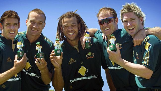 Andrew Symonds (C) and Matthew Hayden (second right) had some interesting things to say about Michael Clarke (R).